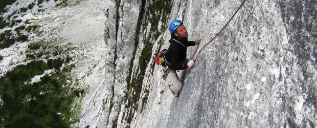 """Klettern im Karwendel – """"Singletrail"""" (8-/8) an der Repswand im Hinterautal"""